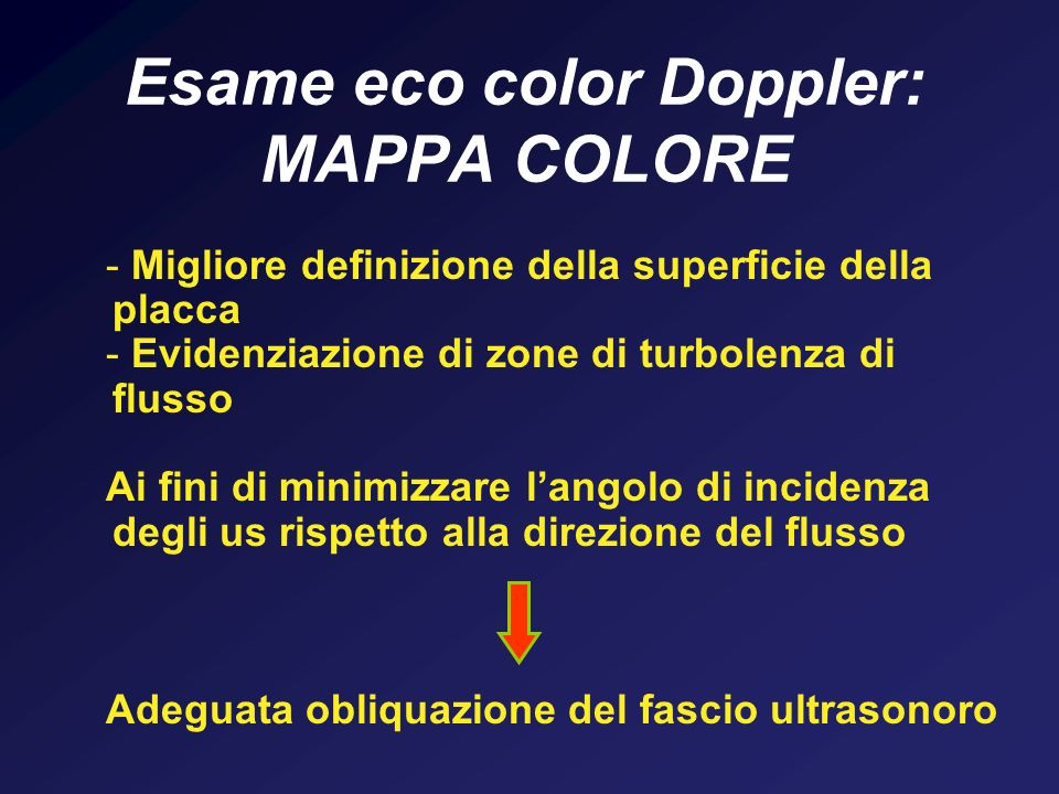 Esame eco color Doppler: MAPPA COLORE - Migliore definizione della superficie della placca - Evidenziazione di zone di turbolenza di flusso Ai fini di
