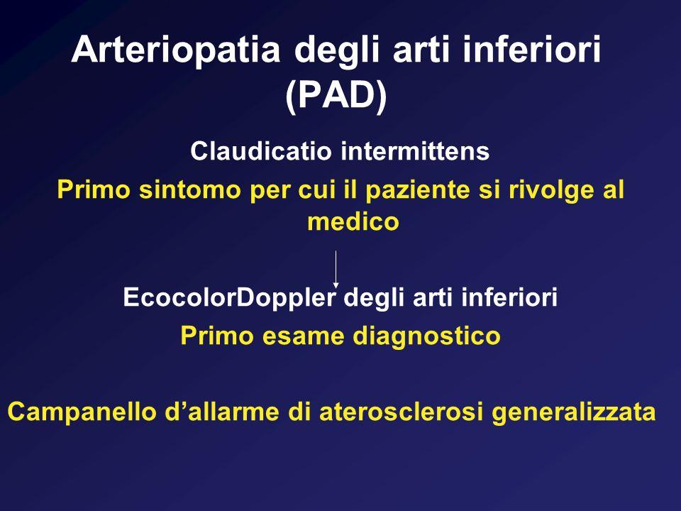 Arteriopatia degli arti inferiori (PAD) Riscontro allecoDoppler di placche aterosclerotiche e/o una riduzione dellABI (ankle brachial index) al di sotto di 0,9 rischio aumentato di eventi coronarici cerebrovascolari