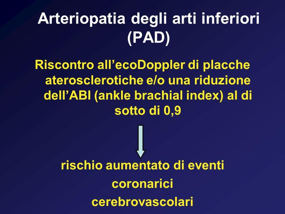 Arteriopatia degli arti inferiori (PAD) Riscontro allecoDoppler di placche aterosclerotiche e/o una riduzione dellABI (ankle brachial index) al di sot