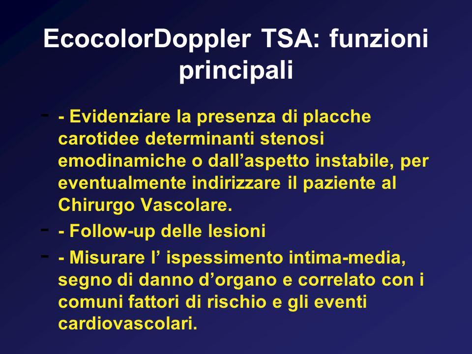 EcocolorDoppler TSA: funzioni principali - - Evidenziare la presenza di placche carotidee determinanti stenosi emodinamiche o dallaspetto instabile, p