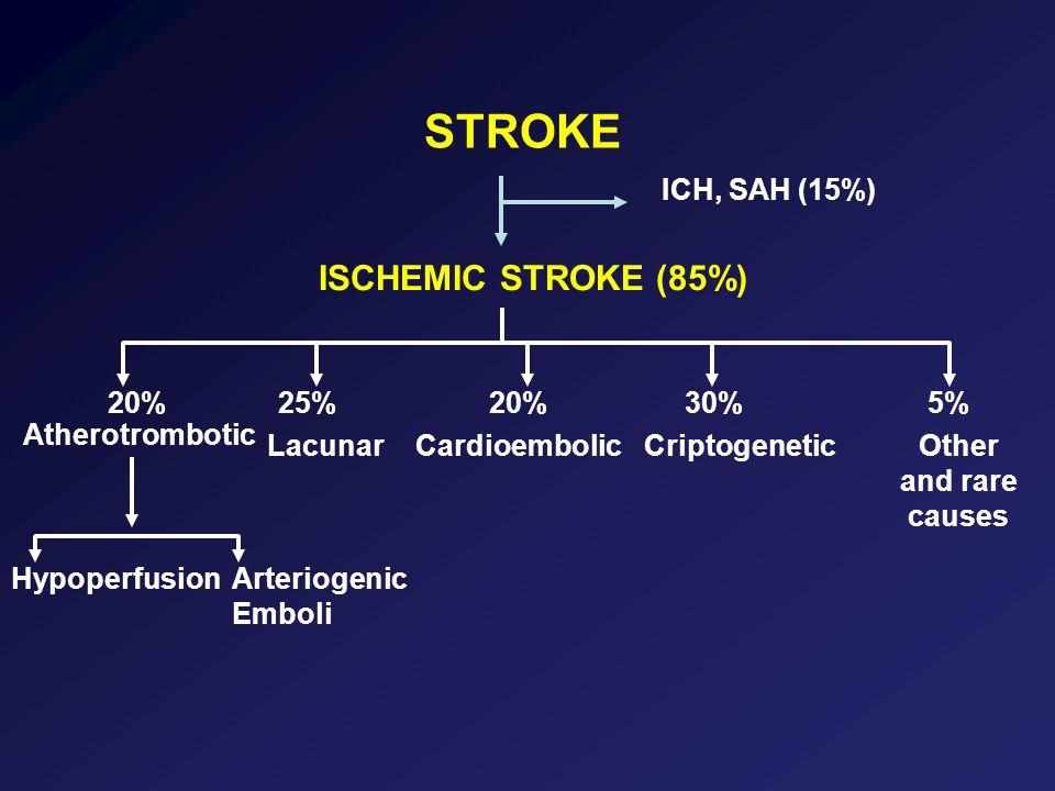 Recidiva di ictus ischemico a un mese secondo eziologia ORCI (95%) Aterotrombotico3,31,7-4,9 Cardioembolico10,6-1,7 Lacunare0,20,1-0,6 Lovett J.K., Neurolgy 2004