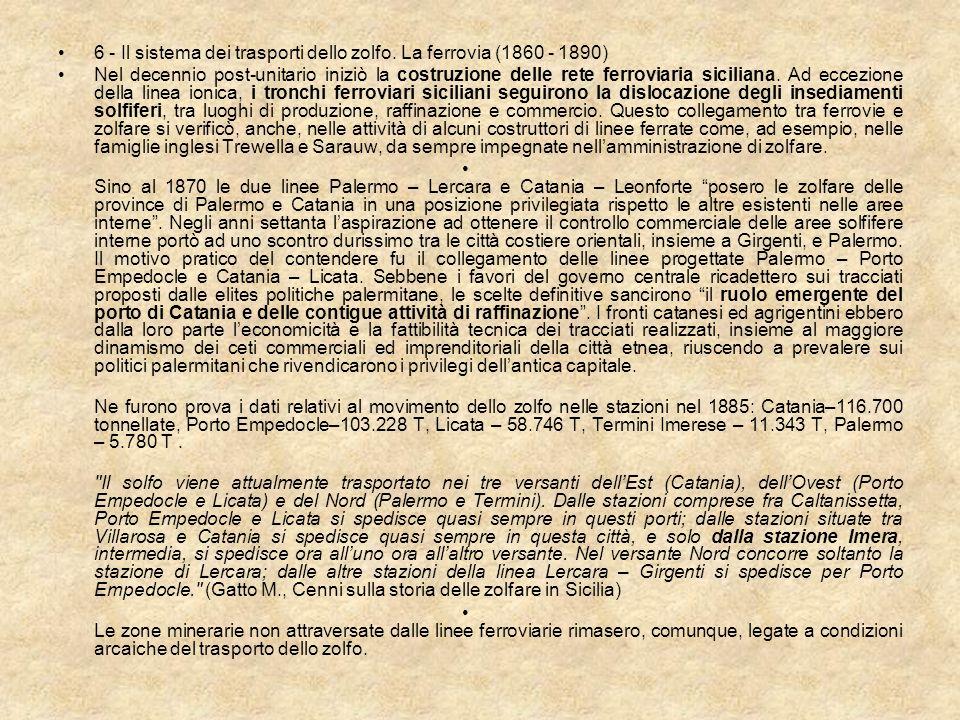 6 - Il sistema dei trasporti dello zolfo. La ferrovia (1860 - 1890) Nel decennio post-unitario iniziò la costruzione delle rete ferroviaria siciliana.