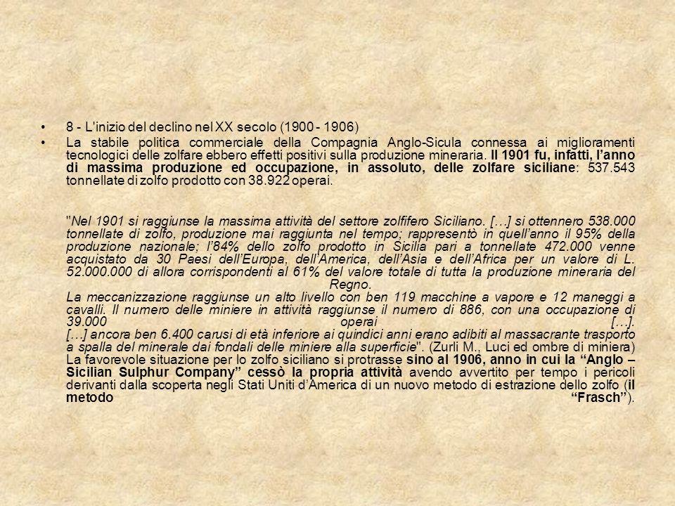 8 - L'inizio del declino nel XX secolo (1900 - 1906) La stabile politica commerciale della Compagnia Anglo-Sicula connessa ai miglioramenti tecnologic