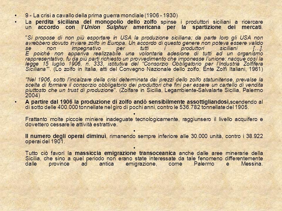 9 - La crisi a cavallo della prima guerra mondiale (1906 - 1930) La perdita siciliana del monopolio dello zolfo spinse i produttori siciliani a ricerc