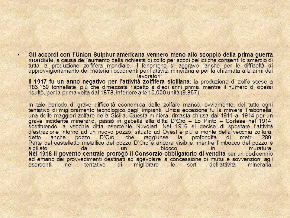 Gli accordi con lUnion Sulphur americana vennero meno allo scoppio della prima guerra mondiale, a causa dellaumento della richiesta di zolfo per scopi