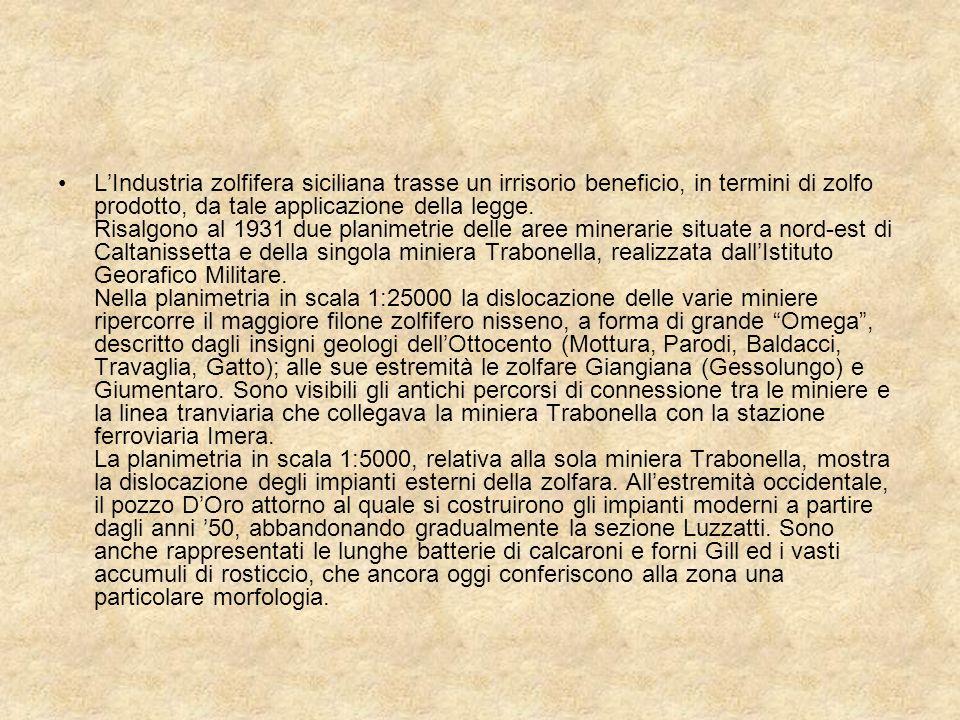 LIndustria zolfifera siciliana trasse un irrisorio beneficio, in termini di zolfo prodotto, da tale applicazione della legge. Risalgono al 1931 due pl