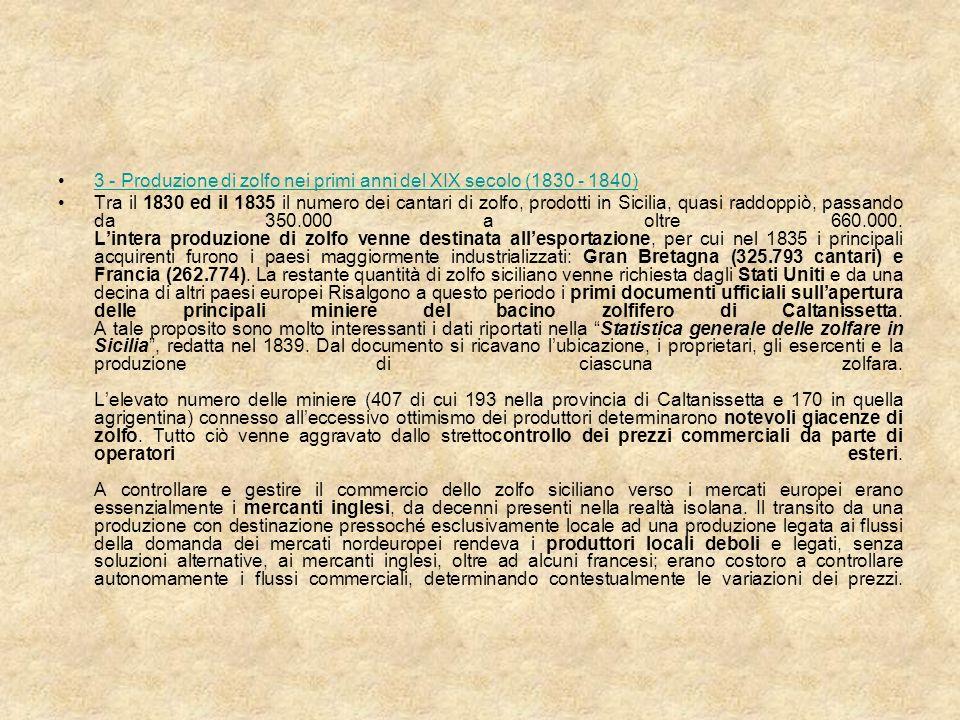 Si ebbe allora la prima crisi di sovrapproduzione manifestata da un rovinoso crollo del prezzo medio dello zolfo, che passò dalle 208 lire del 1833 alle 85 lire del 1837.