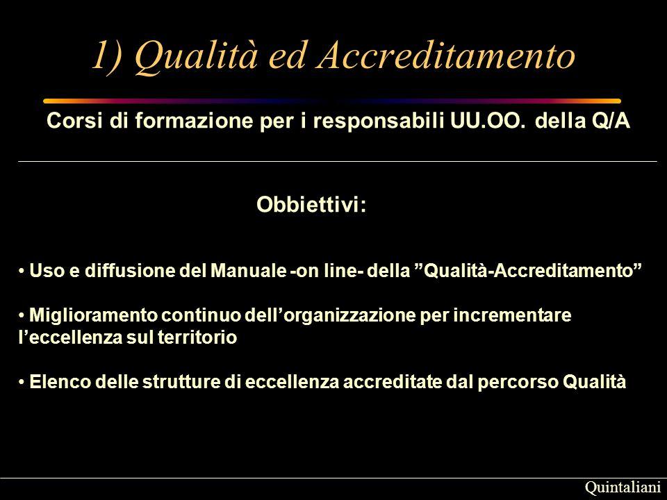 Quintaliani 1) Qualità ed Accreditamento Corsi di formazione per i responsabili UU.OO.