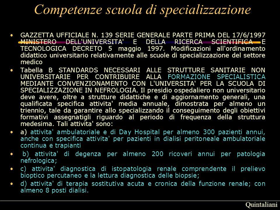 Competenze scuola di specializzazione GAZZETTA UFFICIALE N.