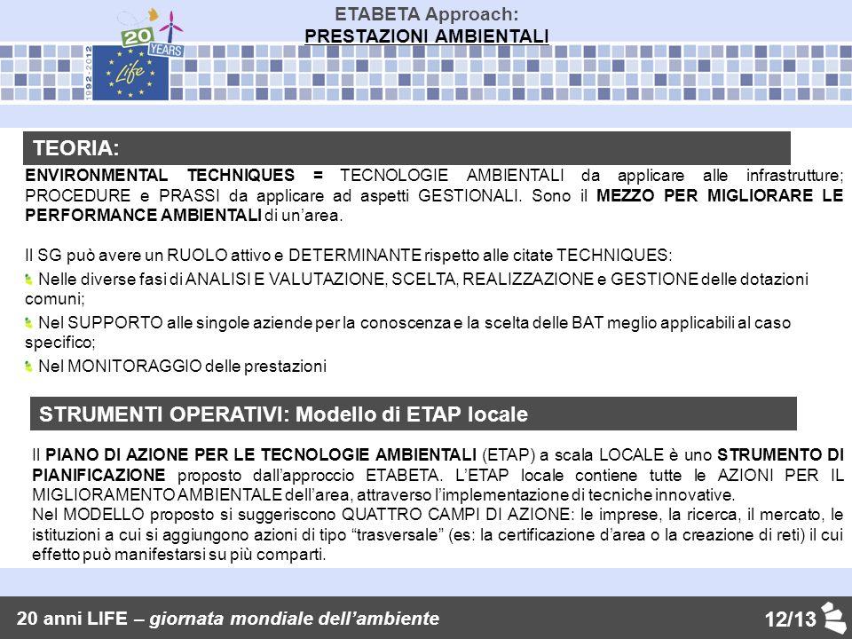 12/13 ETABETA Approach: PRESTAZIONI AMBIENTALI TEORIA: ENVIRONMENTAL TECHNIQUES = TECNOLOGIE AMBIENTALI da applicare alle infrastrutture; PROCEDURE e PRASSI da applicare ad aspetti GESTIONALI.