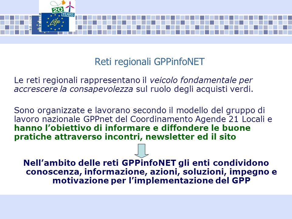 Reti regionali GPPinfoNET Le reti regionali rappresentano il veicolo fondamentale per accrescere la consapevolezza sul ruolo degli acquisti verdi.