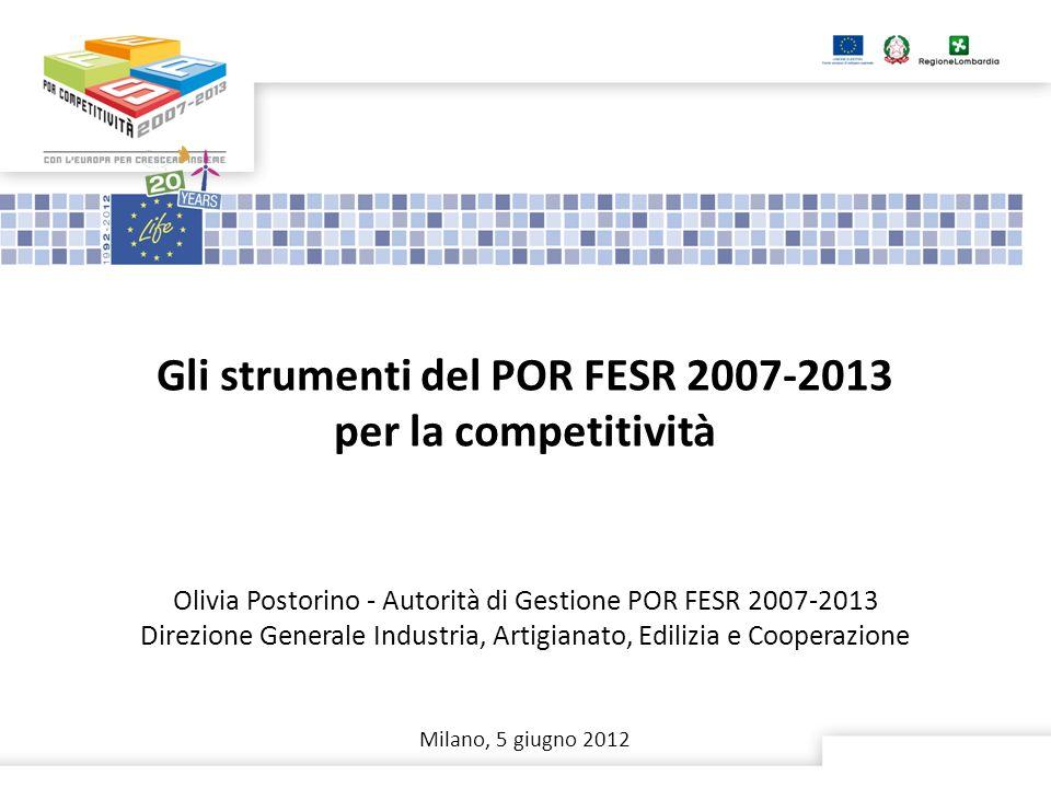 Gli strumenti del POR FESR 2007-2013 per la competitività Olivia Postorino - Autorità di Gestione POR FESR 2007-2013 Direzione Generale Industria, Artigianato, Edilizia e Cooperazione Milano, 5 giugno 2012
