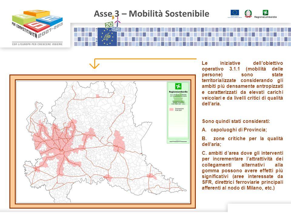 Asse 3 – Mobilità Sostenibile Le iniziative dellobiettivo operativo 3.1.1 (mobilità delle persone) sono state territorializzate considerando gli ambit