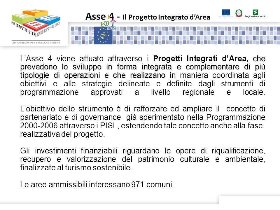 Asse 4 - Il Progetto Integrato dArea che prevedono lo sviluppo in forma integrata e complementare di più tipologie di operazioni e che realizzano i LA