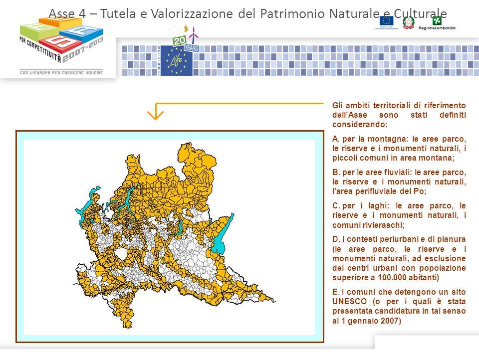 Asse 4 – Tutela e Valorizzazione del Patrimonio Naturale e Culturale Gli ambiti territoriali di riferimento dellAsse sono stati definiti considerando: A.