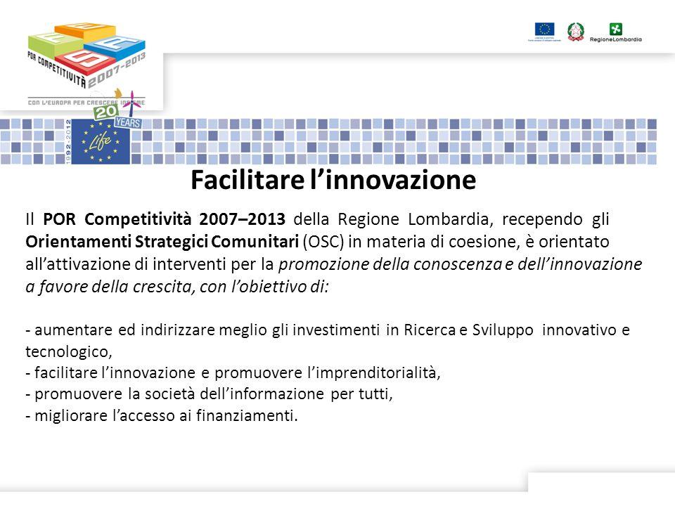 Il POR Competitività 2007–2013 della Regione Lombardia, recependo gli Orientamenti Strategici Comunitari (OSC) in materia di coesione, è orientato allattivazione di interventi per la promozione della conoscenza e dellinnovazione a favore della crescita, con lobiettivo di: - aumentare ed indirizzare meglio gli investimenti in Ricerca e Sviluppo innovativo e tecnologico, - facilitare linnovazione e promuovere limprenditorialità, - promuovere la società dellinformazione per tutti, - migliorare laccesso ai finanziamenti.