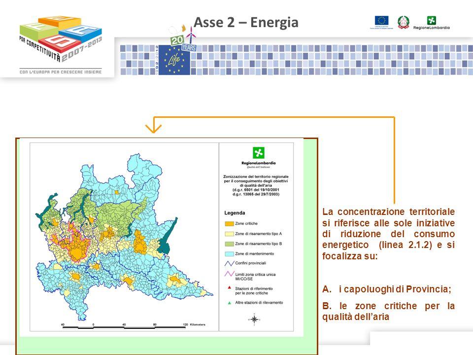 Asse 2 – Energia La concentrazione territoriale si riferisce alle sole iniziative di riduzione del consumo energetico (linea 2.1.2) e si focalizza su: A.