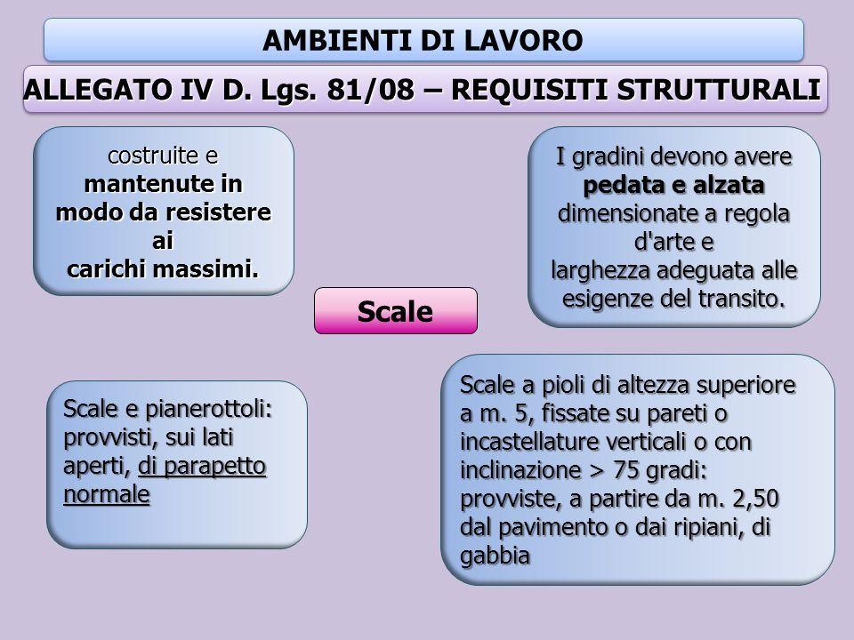 AMBIENTI DI LAVORO ALLEGATO IV D. Lgs. 81/08 – REQUISITI STRUTTURALI Scale costruite e mantenute in modo da resistere ai carichi massimi. I gradini de