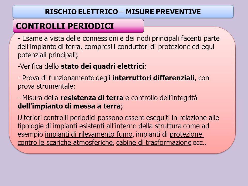 RISCHIO ELETTRICO – MISURE PREVENTIVE - Esame a vista delle connessioni e dei nodi principali facenti parte dellimpianto di terra, compresi i condutto