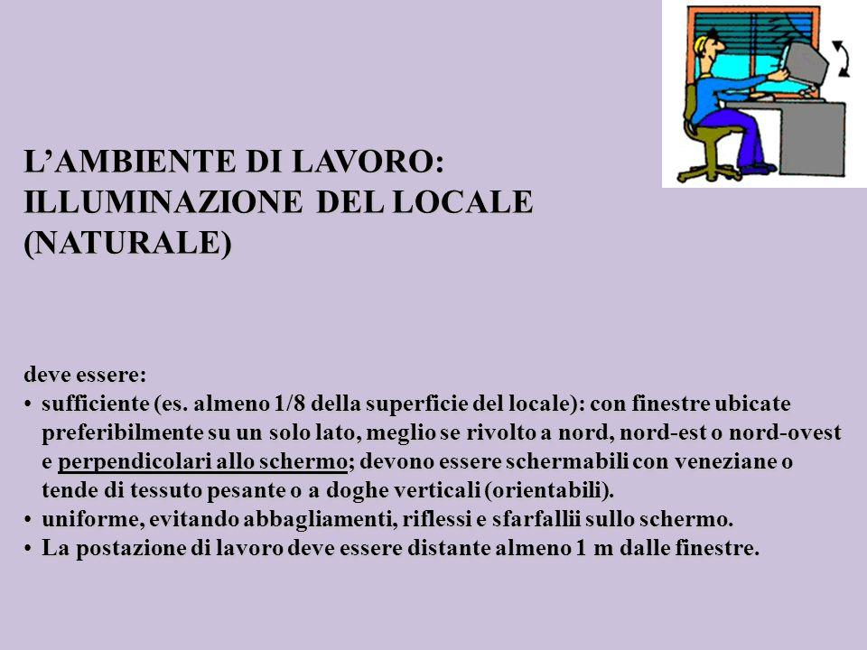 LAMBIENTE DI LAVORO: ILLUMINAZIONE DEL LOCALE (NATURALE) deve essere: sufficiente (es. almeno 1/8 della superficie del locale): con finestre ubicate p