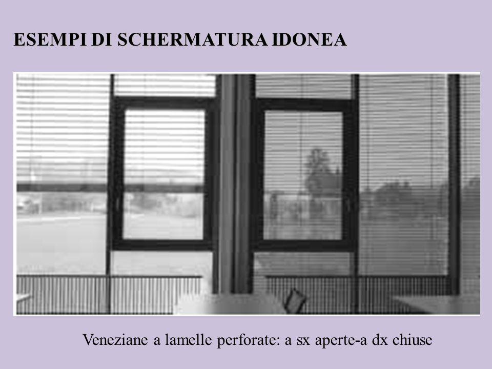 Veneziane a lamelle perforate: a sx aperte-a dx chiuse