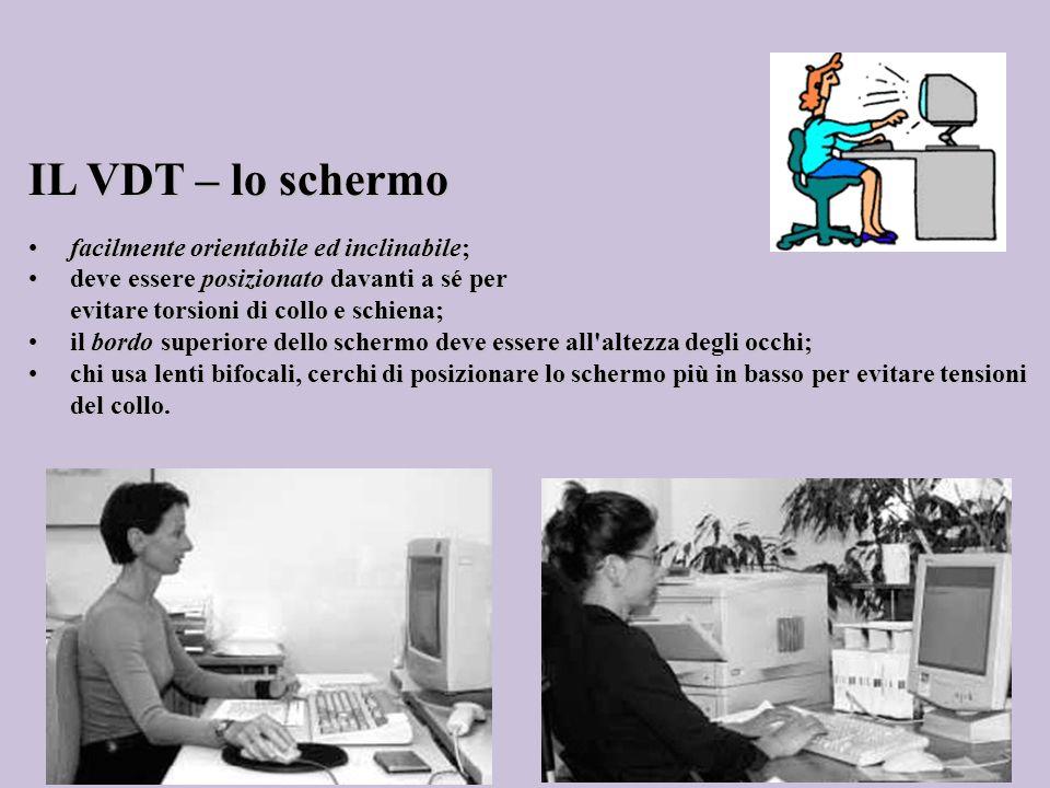 IL VDT – lo schermo facilmente orientabile ed inclinabile;facilmente orientabile ed inclinabile; deve essere posizionato davanti a sé perdeve essere p