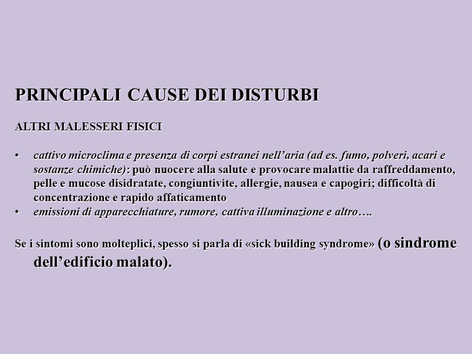 PRINCIPALI CAUSE DEI DISTURBI ALTRI MALESSERI FISICI cattivo microclima e presenza di corpi estranei nellaria (ad es. fumo, polveri, acari e sostanze