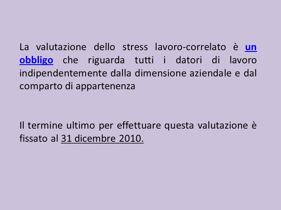 La valutazione dello stress lavoro-correlato è un obbligo che riguarda tutti i datori di lavoro indipendentemente dalla dimensione aziendale e dal com