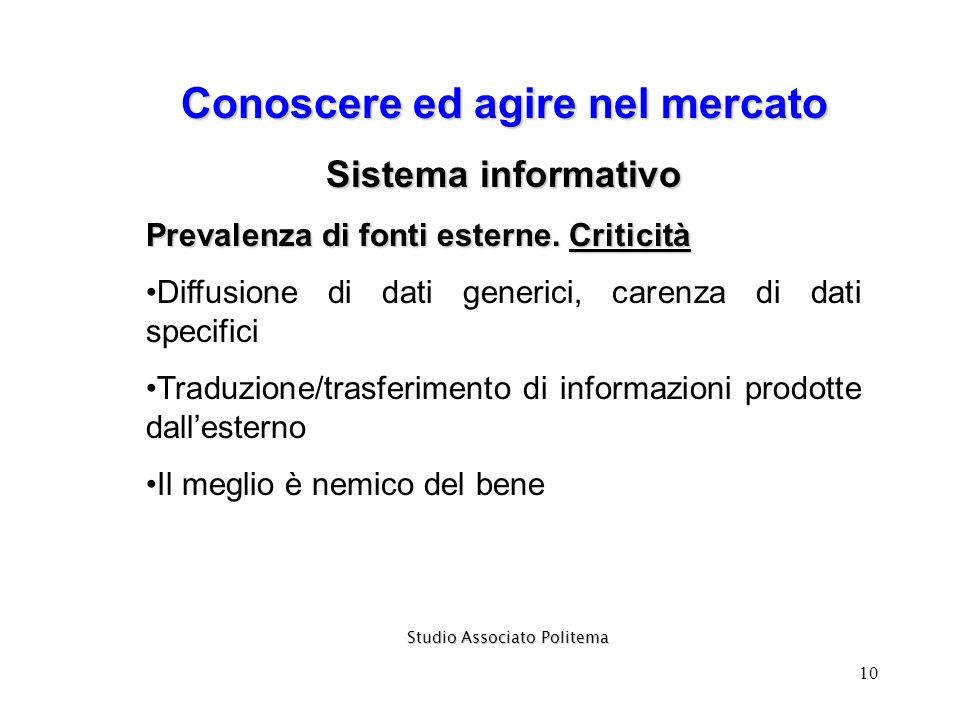 10 Conoscere ed agire nel mercato Sistema informativo Prevalenza di fonti esterne. Criticità Diffusione di dati generici, carenza di dati specifici Tr