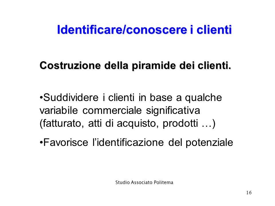 16 Identificare/conoscere i clienti Studio Associato Politema Costruzione della piramide dei clienti. Suddividere i clienti in base a qualche variabil