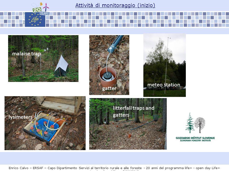 Attività di monitoraggio (inizio) malaise trap lysimeters litterfall traps and gatters gatter meteo station Enrico Calvo – ERSAF – Capo Dipartimento S