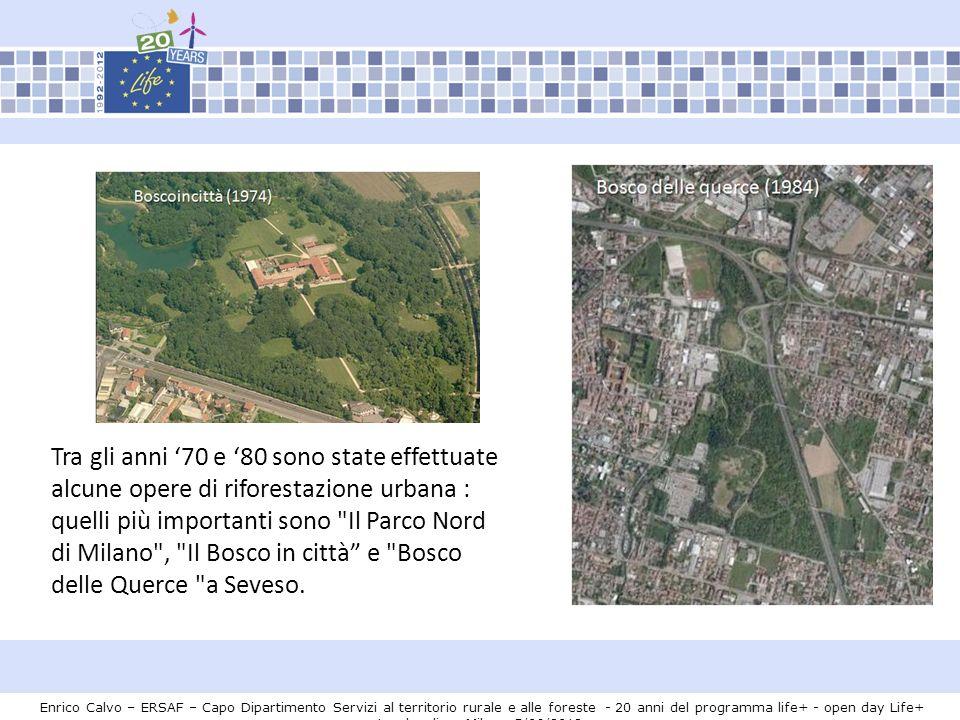 Enrico Calvo – ERSAF – Capo Dipartimento Servizi al territorio rurale e alle foreste - 20 anni del programma life+ - open day Life+ Lombardia – Milano 5/06/2012 Progetto 10 grandi foreste di pianura (2002) Fino ad oggi sono state realizzate otto aree di foresta nelle vicinanze delle principali città.