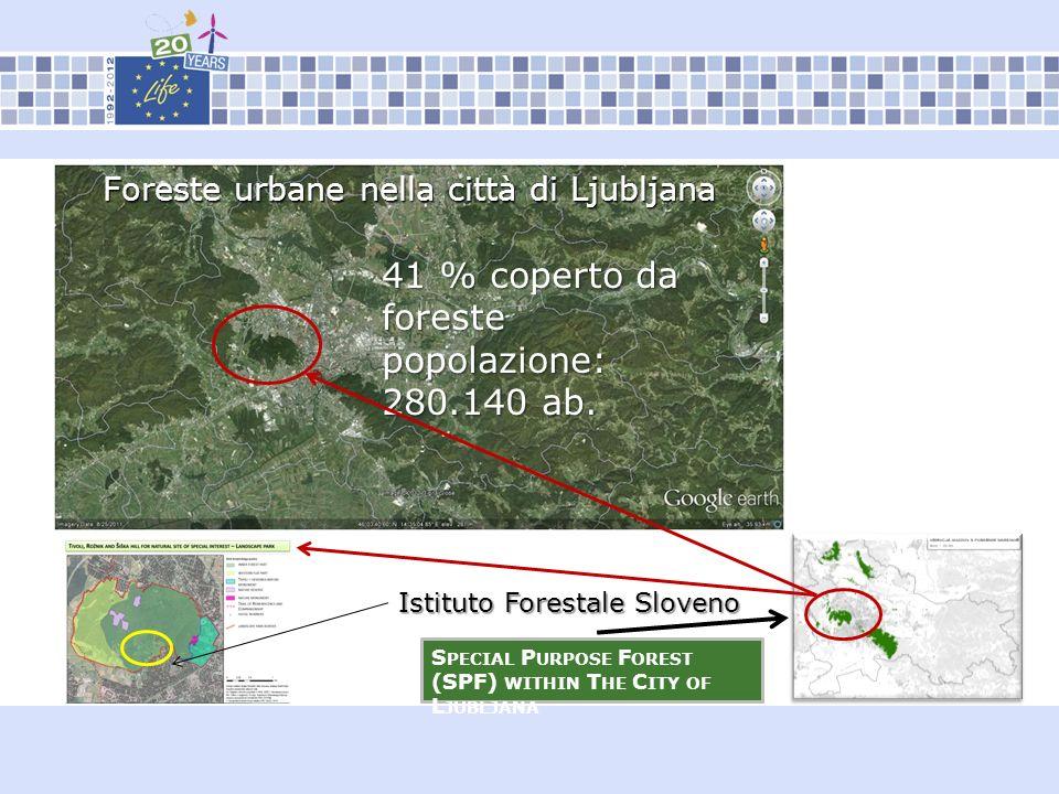 S PECIAL P URPOSE F OREST (SPF) WITHIN T HE C ITY OF L JUBLJANA Istituto Forestale Sloveno Foreste urbane nella città di Ljubljana 41 % coperto da for
