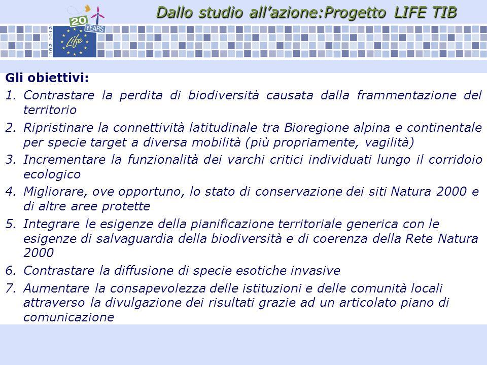 Dallo studio allazione:Progetto LIFE TIB Gli obiettivi: 1.Contrastare la perdita di biodiversità causata dalla frammentazione del territorio 2.Ripristinare la connettività latitudinale tra Bioregione alpina e continentale per specie target a diversa mobilità (più propriamente, vagilità) 3.