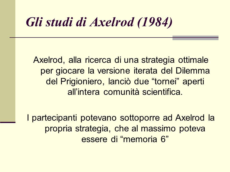 Gli studi di Axelrod (1984) Axelrod, alla ricerca di una strategia ottimale per giocare la versione iterata del Dilemma del Prigioniero, lanciò due tornei aperti allintera comunità scientifica.