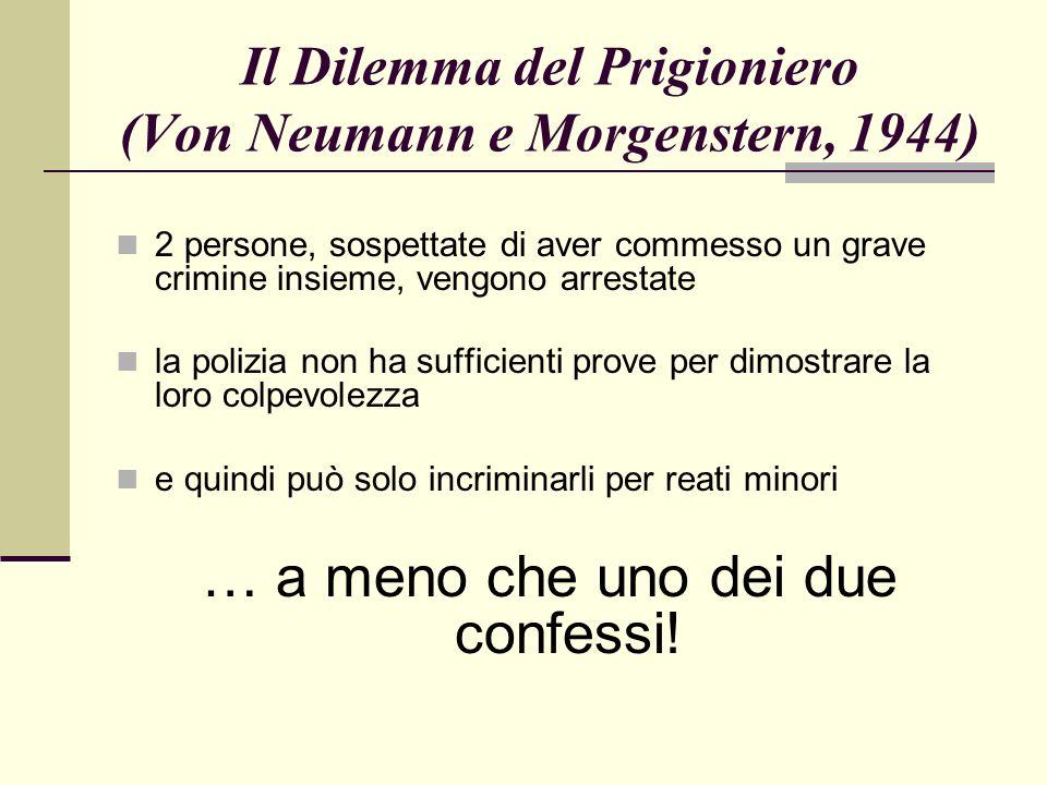 Il Dilemma del Prigioniero (Von Neumann e Morgenstern, 1944) 2 persone, sospettate di aver commesso un grave crimine insieme, vengono arrestate la polizia non ha sufficienti prove per dimostrare la loro colpevolezza e quindi può solo incriminarli per reati minori … a meno che uno dei due confessi!