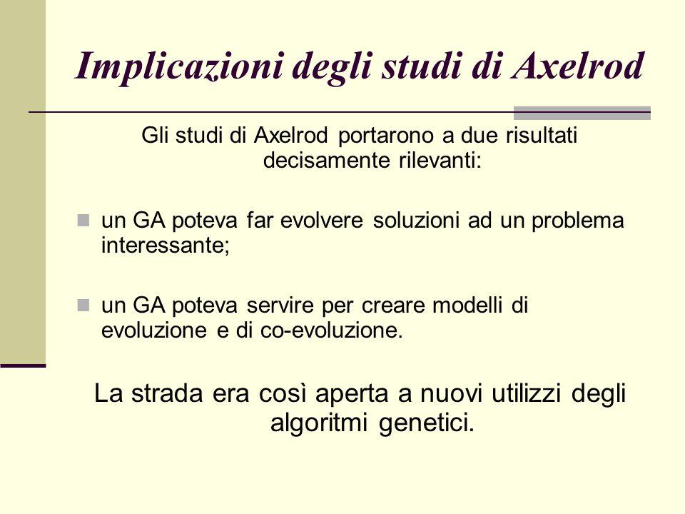Implicazioni degli studi di Axelrod Gli studi di Axelrod portarono a due risultati decisamente rilevanti: un GA poteva far evolvere soluzioni ad un problema interessante; un GA poteva servire per creare modelli di evoluzione e di co-evoluzione.