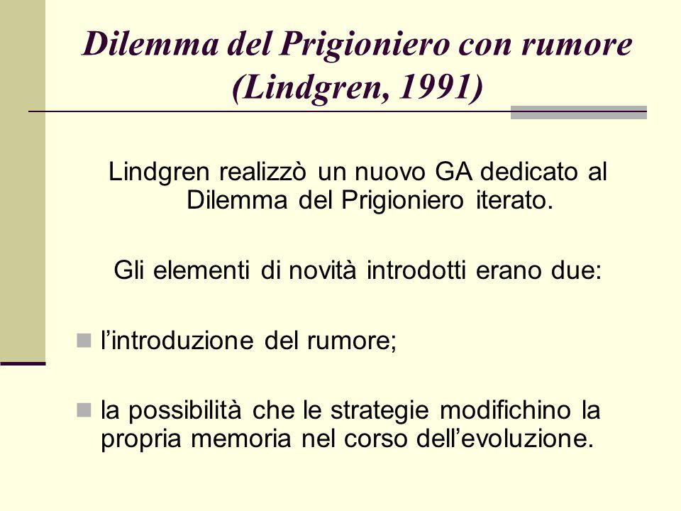 Dilemma del Prigioniero con rumore (Lindgren, 1991) Lindgren realizzò un nuovo GA dedicato al Dilemma del Prigioniero iterato.