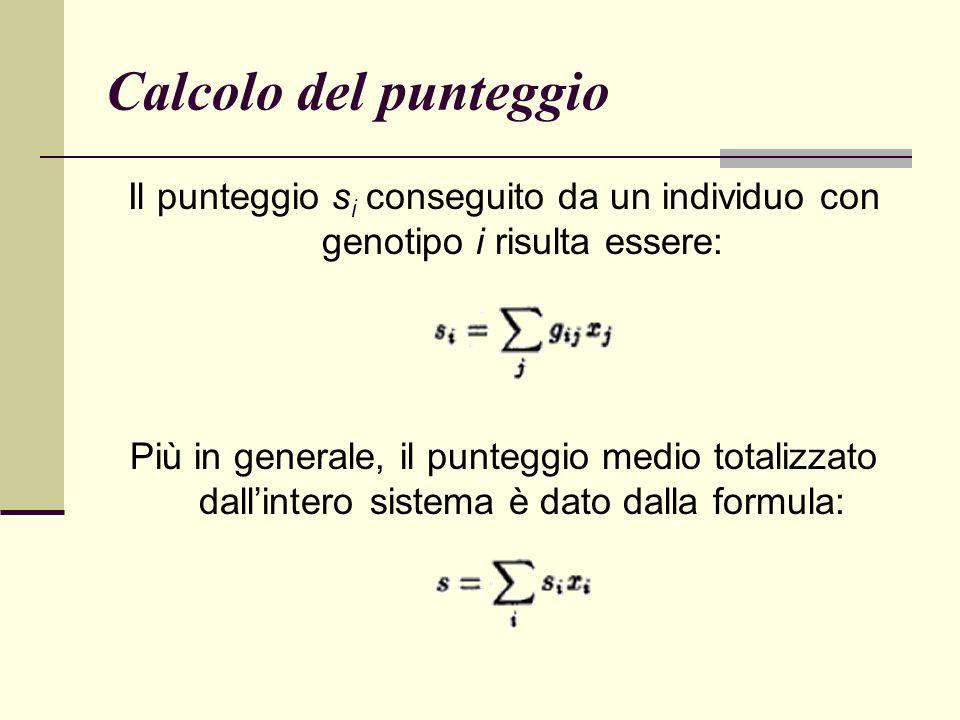 Calcolo del punteggio Il punteggio s i conseguito da un individuo con genotipo i risulta essere: Più in generale, il punteggio medio totalizzato dallintero sistema è dato dalla formula: