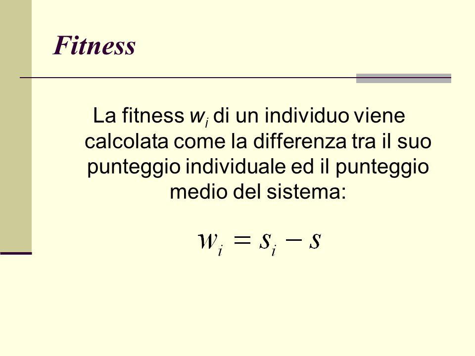Fitness La fitness w i di un individuo viene calcolata come la differenza tra il suo punteggio individuale ed il punteggio medio del sistema: