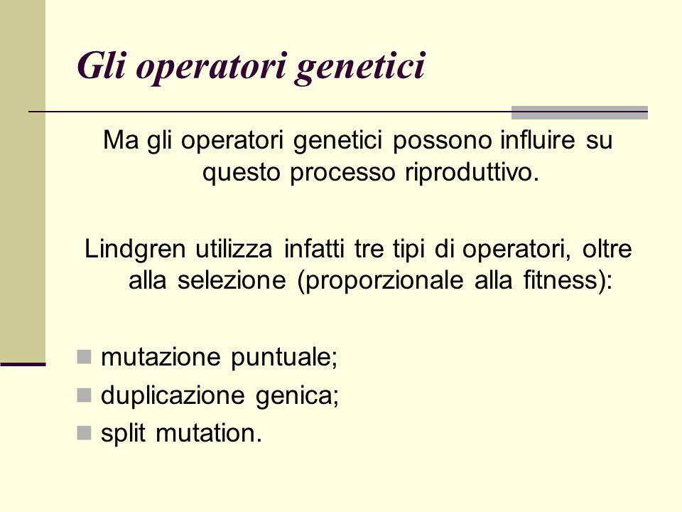 Gli operatori genetici Ma gli operatori genetici possono influire su questo processo riproduttivo.