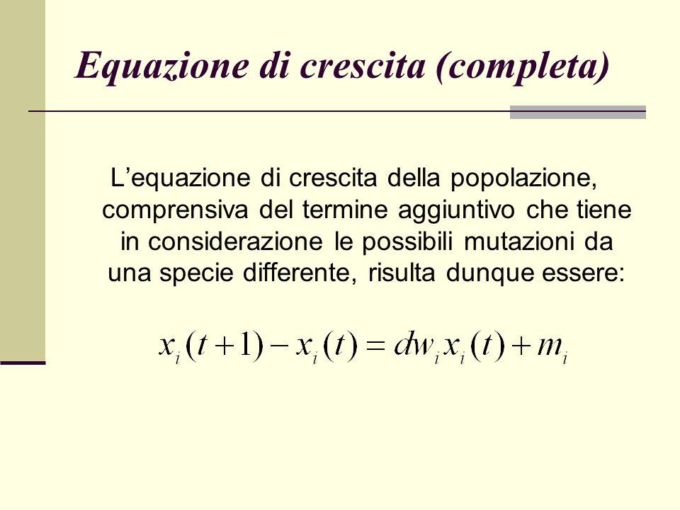 Equazione di crescita (completa) Lequazione di crescita della popolazione, comprensiva del termine aggiuntivo che tiene in considerazione le possibili mutazioni da una specie differente, risulta dunque essere: