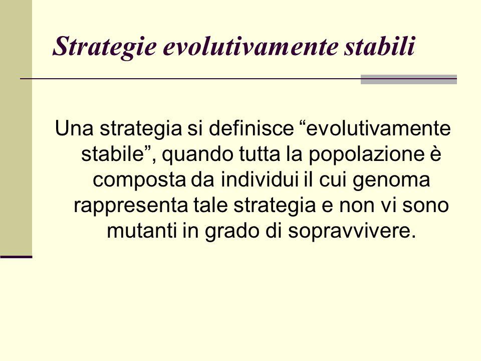 Strategie evolutivamente stabili Una strategia si definisce evolutivamente stabile, quando tutta la popolazione è composta da individui il cui genoma rappresenta tale strategia e non vi sono mutanti in grado di sopravvivere.