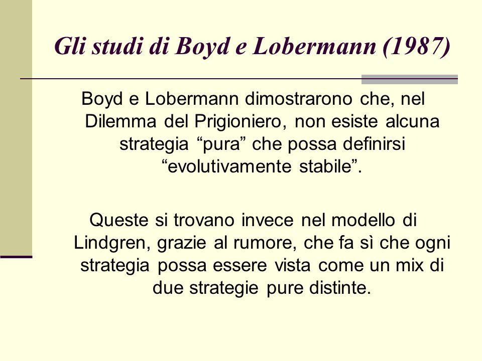 Gli studi di Boyd e Lobermann (1987) Boyd e Lobermann dimostrarono che, nel Dilemma del Prigioniero, non esiste alcuna strategia pura che possa definirsi evolutivamente stabile.