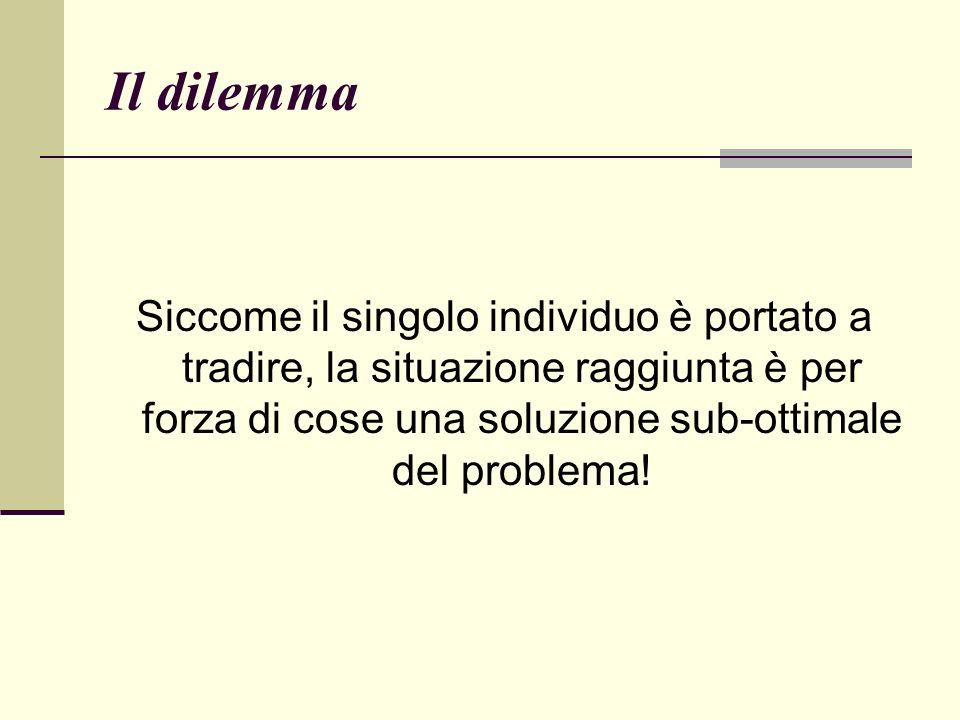 Il dilemma Siccome il singolo individuo è portato a tradire, la situazione raggiunta è per forza di cose una soluzione sub-ottimale del problema!