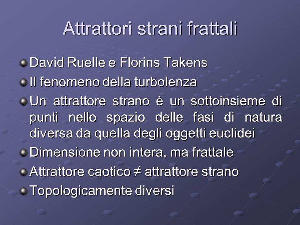 Attrattori strani frattali David Ruelle e Florins Takens Il fenomeno della turbolenza Un attrattore strano è un sottoinsieme di punti nello spazio del