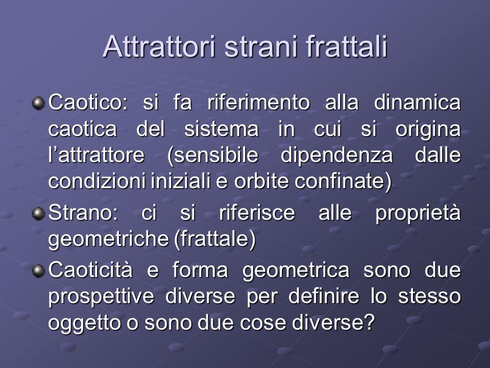 Attrattori strani frattali Caotico: si fa riferimento alla dinamica caotica del sistema in cui si origina lattrattore (sensibile dipendenza dalle cond