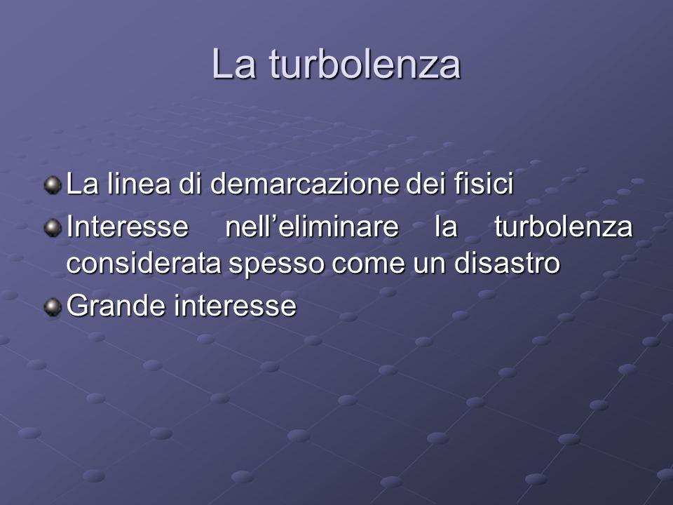 La turbolenza La linea di demarcazione dei fisici Interesse nelleliminare la turbolenza considerata spesso come un disastro Grande interesse