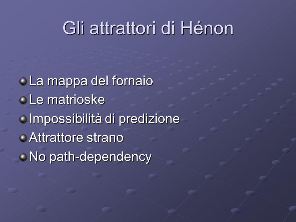Gli attrattori di Hénon La mappa del fornaio Le matrioske Impossibilità di predizione Attrattore strano No path-dependency