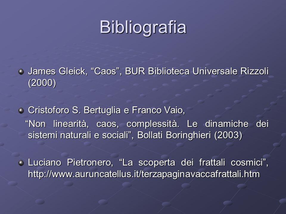 Bibliografia James Gleick, Caos, BUR Biblioteca Universale Rizzoli (2000) Cristoforo S. Bertuglia e Franco Vaio, Non linearità, caos, complessità. Le